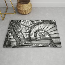 Rookery Building Frank Lloyd Wright Stairway & Glass Windows black and white photography  Rug