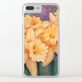 YELLOW DAFFODIL FLOWERS in WATERCOLORS Clear iPhone Case
