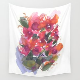 Red Orchid Splash Wall Tapestry