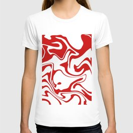 Holiday Red Liquid Marble Effect Pattern T-shirt