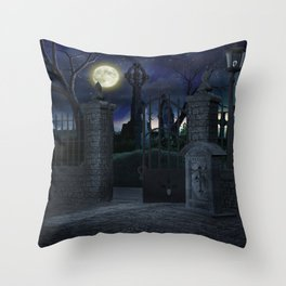 Graveyard #2 * Halloween Churchyard Scary Spooky Skeleton Tombstone Creepy Throw Pillow