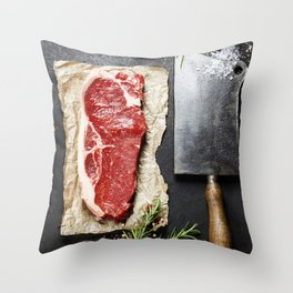 vintage cleaver and raw beef steak on dark background Throw Pillow