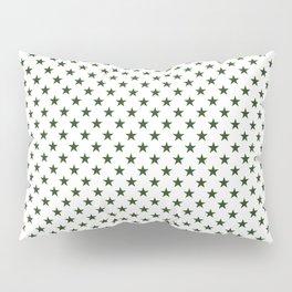 Dark Forest Green Five Pointed Stars on White Pillow Sham