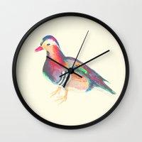 lsd Wall Clocks featuring LSD BIRDS by Michal Gorelick