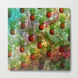 Pineapples - Tropical fruit watercolor illustration pattern Metal Print