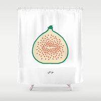 fig Shower Curtains featuring FIG by Lara Trimming