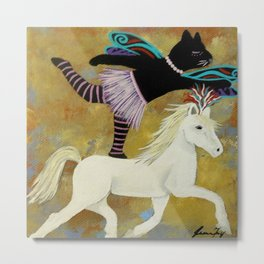 Circus Kitty Riding Horse Metal Print