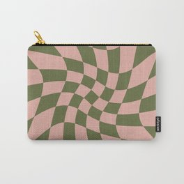 Wavy Check - Green And Peach - Checkerboard Pattern Print Carry-All Pouch