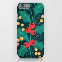 Christmas green decor Happy Holly Berry iPhone Case