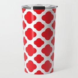Red Quatrefoil Pattern Travel Mug