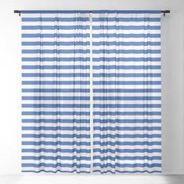 Geometric navy blue white nautical stripes pattern Sheer Curtain