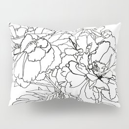 Peony from the garden - Line work Pillow Sham