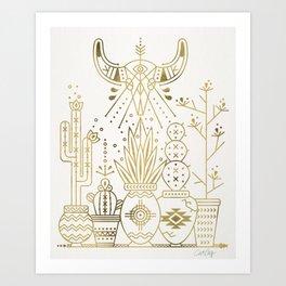 Santa Fe Garden – Gold Ink Art Print