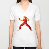 street fighter V-neck T-shirts featuring Street Fighter II - Ken by Carlo Spaziani