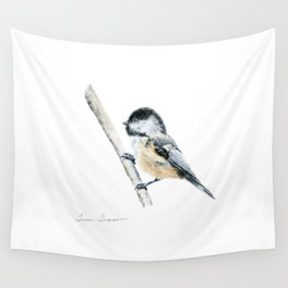 """""""Chicka-dee-dee-dee"""" a painting of a Chickadee by Teresa Thompson Wall Tapestry"""