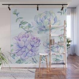 Wonderful Succulents Light Blue Wall Mural