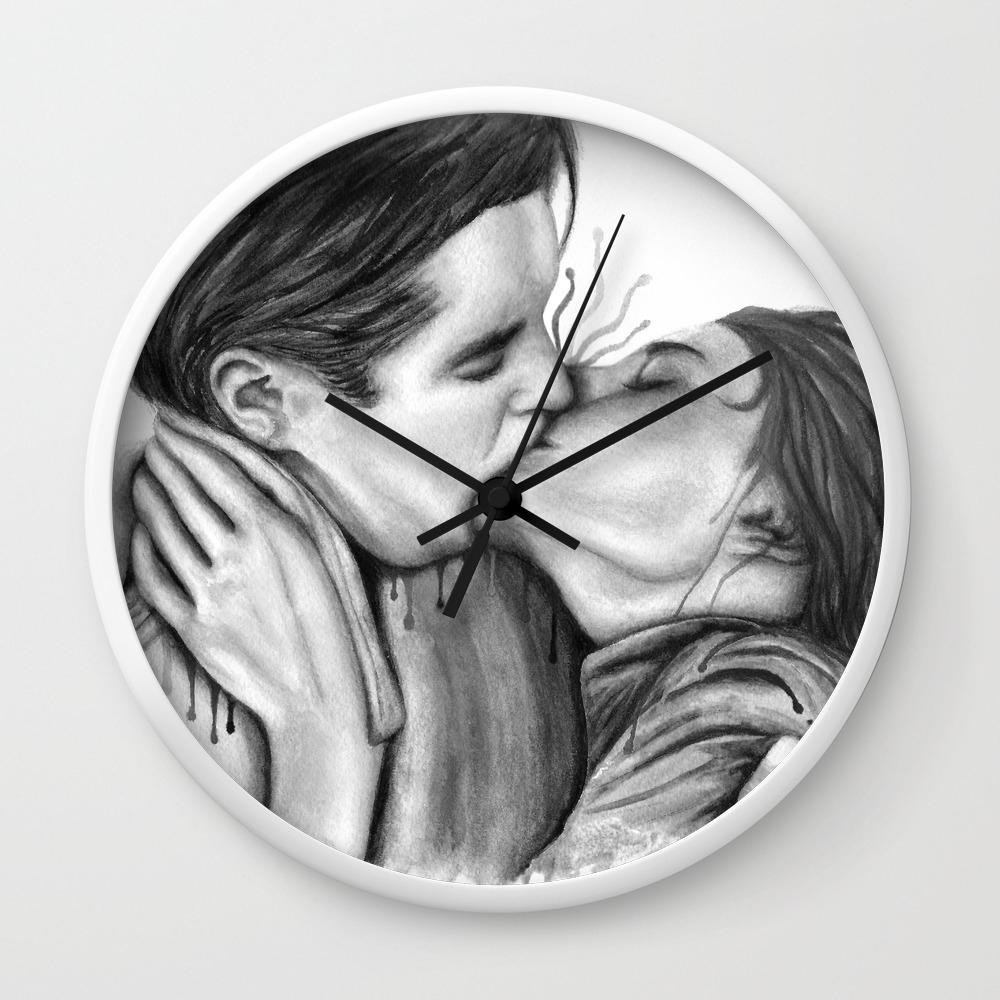 Cinema kiss blackwhite love art illustration romance lovers relationship couple drawing kiss wall clock