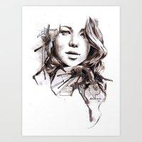 jennifer lawrence Art Prints featuring Jennifer Lawrence by dariemkova