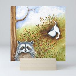 Silly Dog  Jack Russell Terrier, Raccoon, Landscape Painting, Original Art Mini Art Print