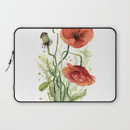 Red Poppies Watercolor Laptop Sleeve