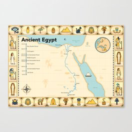 Illustrated map of Ancient Egypt Canvas Print