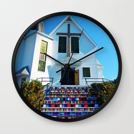 Easter Colored Church Steps Wall Clock