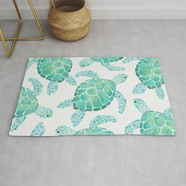 Sea Turtle Pattern - Blue Rug