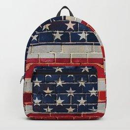 America flag on a brick wall Backpack