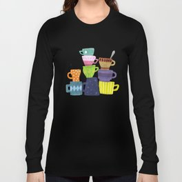 Coffee And Tea Cups And Mugs Stacked High Long Sleeve T-shirt