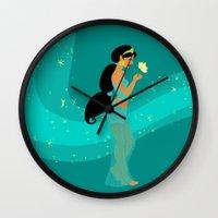 jasmine Wall Clocks featuring Jasmine by Eva Duplan Illustrations