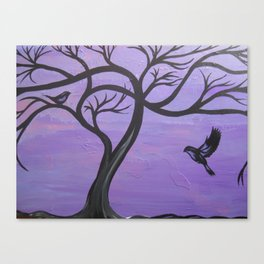 dusk purple and orange tree of life with birds two bird painting art design modern trees Canvas Print