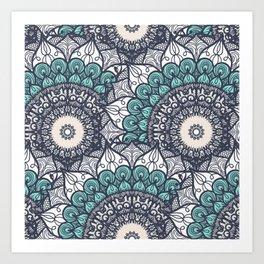 Mandala pattern #9 - blue, green, white Art Print