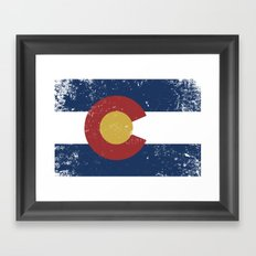 Distressed Colorado Flag Framed Art Print