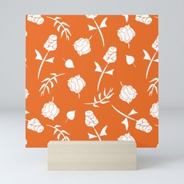 Bright Orange and White Floral Pattern Mini Art Print