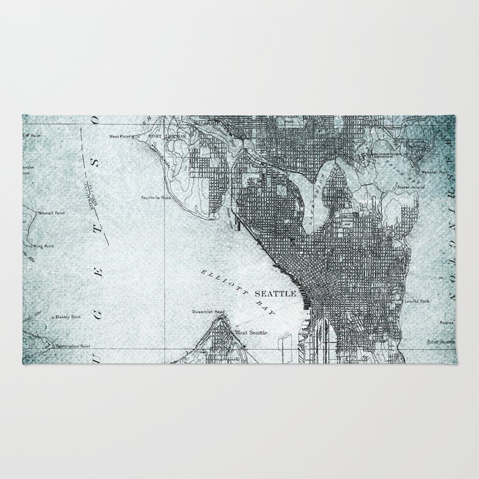 Vintage Seattle City Map Rug