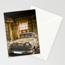 Old Car in a Garage Stationery Cards