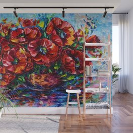 Red Poppies In A Vase Palette Knife Painting Wall Mural