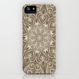 Beige swirl mandala iPhone Case