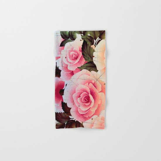 pink rose on old tile Hand & Bath Towel