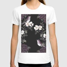 Blackberry Spring Garden Night - Birds and Bees on Black T-shirt
