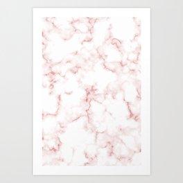 Pink Rose Gold Marble Natural Stone Gold Metallic Veining White Quartz Art Print