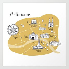 Mapping Melbourne - Yellow Art Print