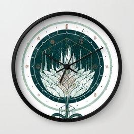 White Dahlia Wall Clock