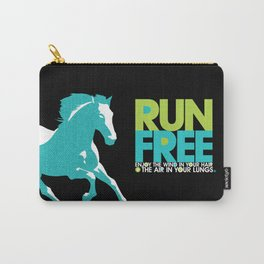 Run Free – Gallop (on Black) Inspirational Words Carry-All Pouch