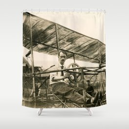 Glenn Curtiss in His Bi-Plane Shower Curtain