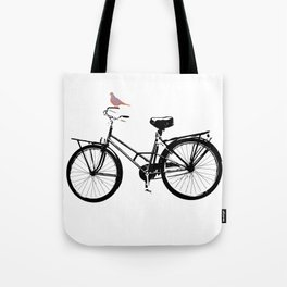 Baker's bicycle with bird Tote Bag
