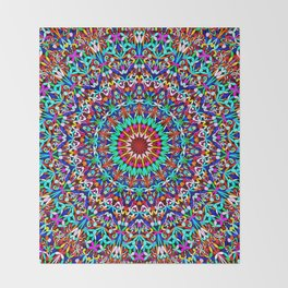 Colorful Life Garden Mandala Throw Blanket