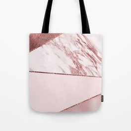 Spliced mixed pinks rose gold marble Tote Bag