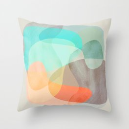 Shapes and Layers no.29 - Blue, Orange, Gray, abstract painting Throw Pillow