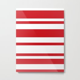 Mixed Horizontal Stripes - White and Fire Engine Red Metal Print